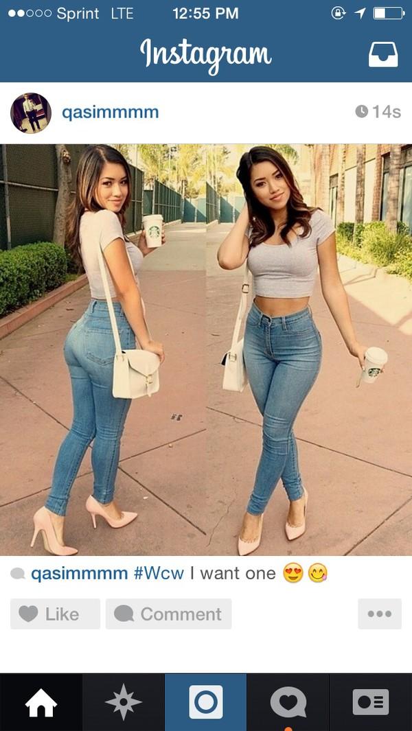 blouse jeans high waisted light denim