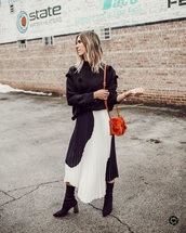 skirt,midi skirt,boots,black boots,sweater,black sweater,pleated,pleated skirt,pom poms