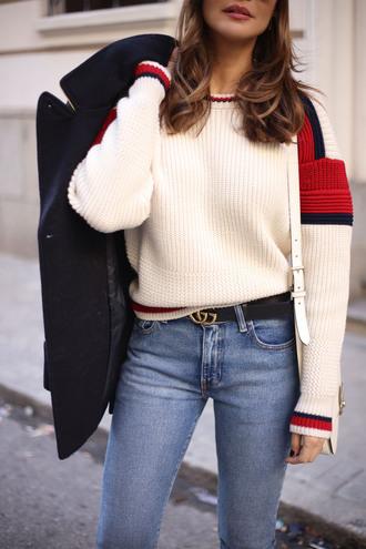 sweater tumblr white sweater denim jeans blue jeans gucci gucci belt coat blue coat wool wool coat logo belt