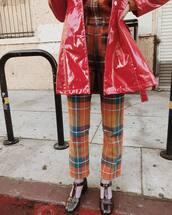 pants,orange pants,coat,red coat