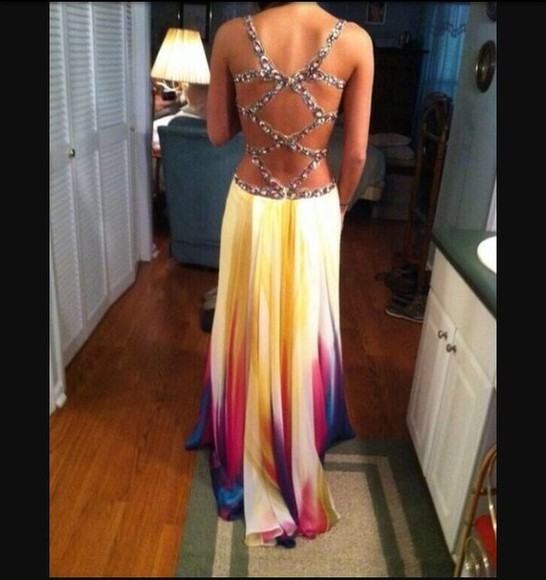 dress cute open back fashion prom prom dress multi colored colorful style
