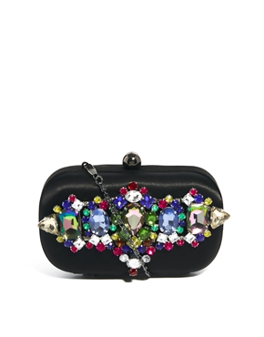 River Island | River Island Multi Gem Embellished Box Clutch Bag at ASOS