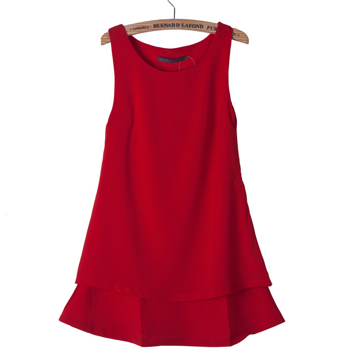 2013 Summer New Womens Sleeveless Dress red Bow Solid Chiffon Novelty Cute Dresses for Women Ladies Free Shipping-in Dresses from Apparel & Accessories on Aliexpress.com