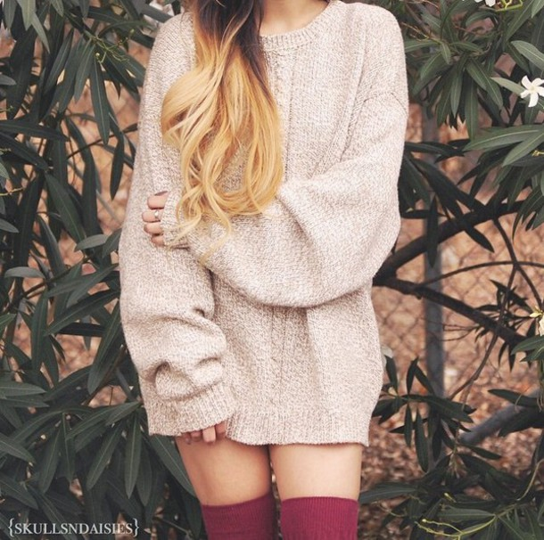 sweater top beige winter sweater oversized sweater oversized cute girly winter outfits socks burgundy burgundy socks