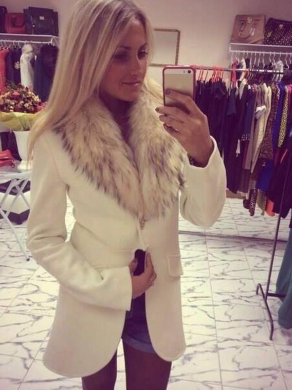 Coat: white coat winter fur long - Wheretoget