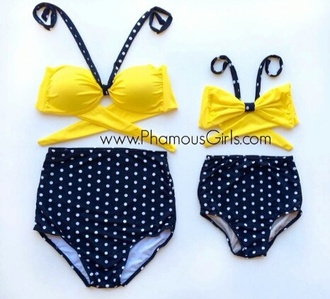 swimwear high waisted bikini yellow cute