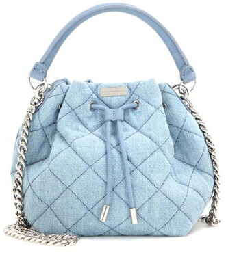 denim soft quilted bag bucket bag blue