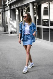 jacket,denim,denim jacket,skirt,denim skirt,top,white top,shoes