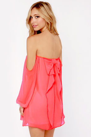 Cute Neon Coral Dress - Off-the-Shoulder Dress - Bow Dress - $43.00