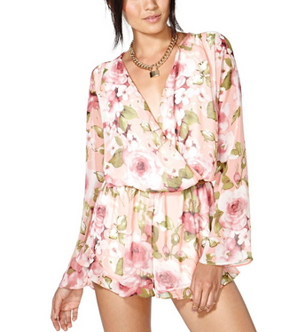 Deep V Long-Sleeved Chiffon Flower Print Jumpsuit - Juicy Wardrobe