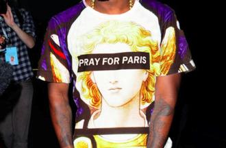 t-shirt pray for paris shirt swag love kanye west hip hop