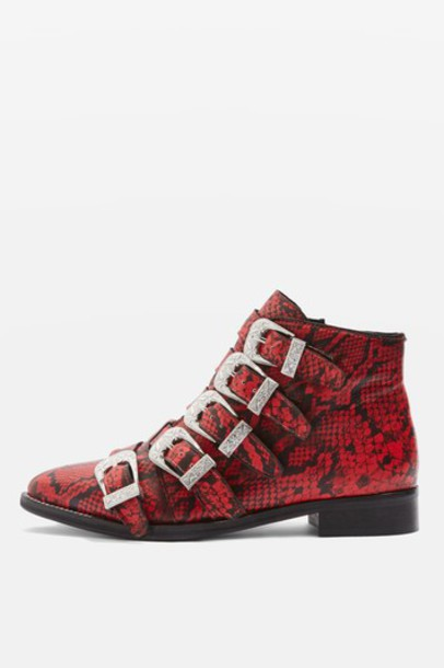 Topshop ankle boots red shoes