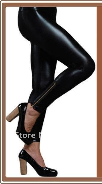 Sexy LIQUID Clubwear Shiny Wet Look Leather Gold Zip Front Footless Women Leggings Tights Pants Black Skinny Trousers-in Socks & Hosiery from Apparel & Accessories on Aliexpress.com