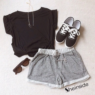 shorts crop tops black sleeves grey black shoes sunglasses jewelery necklace shoes