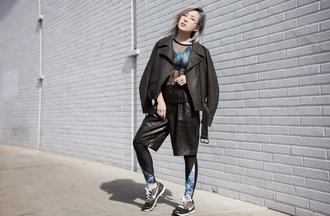 feral creature blogger printed leggings black shorts leather shorts black jacket sports bra sportswear urban red lime sunday
