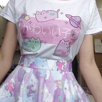 t-shirt cats pink saturn heart skirt