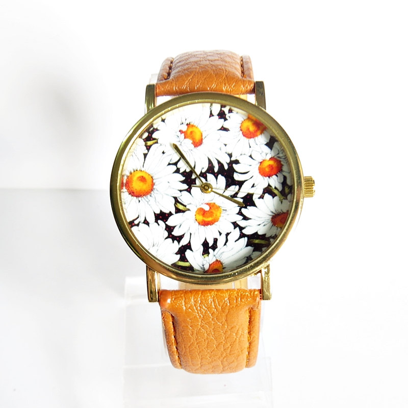 New! Summer Daisy Floral Watch, Vintage Style Leather Watch, Women Watches, Boyfriend Watch,