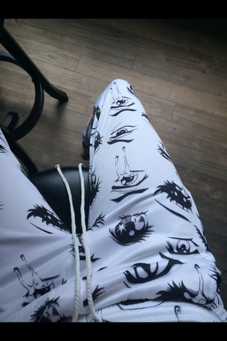 anime anime eyes pants sweatpants white black acacia brinley hipster indie soft grunge grunge hippie hippie chic pop punk punk rock cute sweater style fashion girly girly grunge tumblr shorts tumblr outfit tumblr girl tumblr clothes