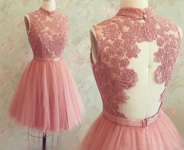 610d87a21fcd Pretty Pink High Neck Lace Homecoming Dresses,Cute Graduation Dresses,Modest  Graduation Dresses · 21weddingdresses · Online Store Powered by Storenvy