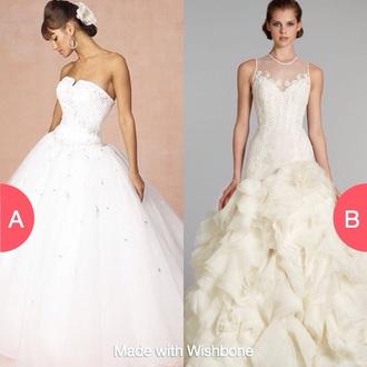 dress wedding dress cream sheer ruffle