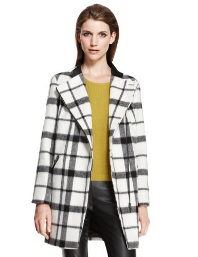 Autograph Checked Biker Coat with Wool - Marks & Spencer
