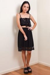 skirt,black,slip,90s style,lace,her pony