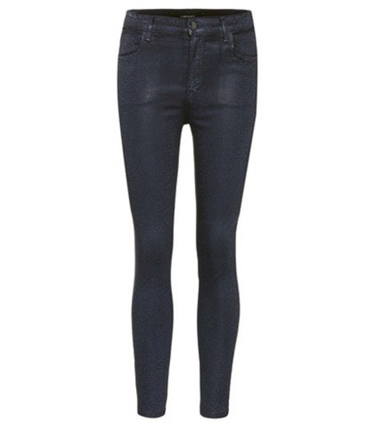 J Brand Alana high-rise printed coated jeans in grey
