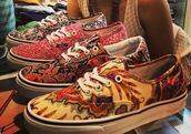 shoes,vans,printed vans,scarf,red,blue,dark blue,yellow,white,sneakers,orange,black,kitchie
