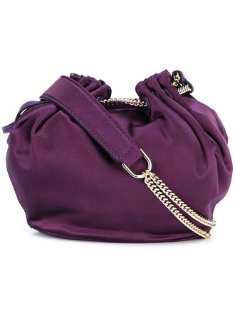 mini women love bag bucket bag purple pink satin