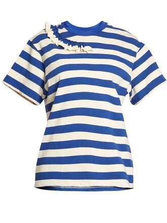 t-shirt shirt striped t-shirt ruffle white blue top