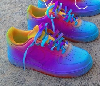 shoes colorful nike air force 1 af1 bag yellow red purple blue air force one multicolor sneakers rainbow