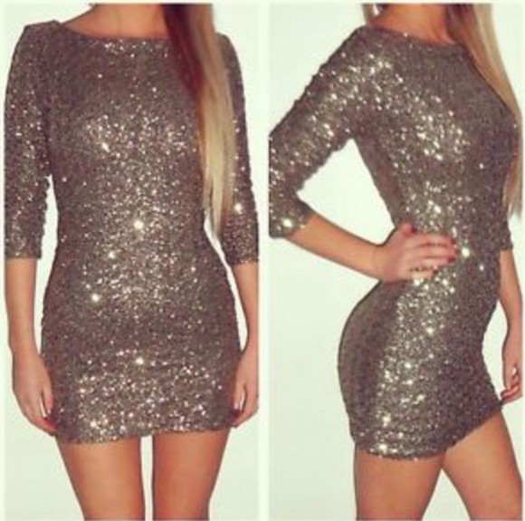 fitted dress sequins 3/4 sleeves