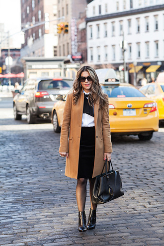 the corporate catwalk blogger camel coat office outfits black bag black skirt top skirt shoes sunglasses jewels coat bag