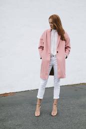 coat,blouse,jeans,shoes,work outfits,pink coat,white jeans,cropped jeans,white shirt,white blouse,sandals,sandal heels,high heel sandals,nude sandals,minimalist shoes,could i have that,blogger,masculine coat