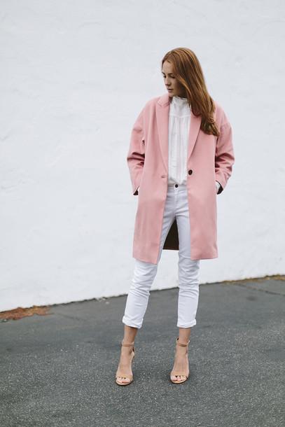 coat blouse jeans shoes work outfits pink coat white jeans cropped jeans white shirt white blouse sandals sandal heels high heel sandals nude sandals minimalist shoes could i have that blogger masculine coat