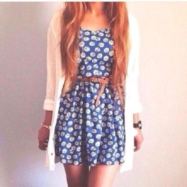 dress blue floral dress cardigan belt summer urgent black dress urgent answer