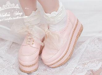 shoes pink platform shoes cute pink platforms pastel kawaii