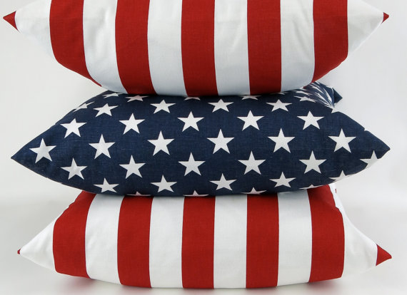 American flag patriotic euro sham red white blue july 4th decorative throw