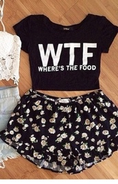 top,shirt,style,floral shirt,crop tops,shorts,black and white,wtf,black,white,cute,summer,denim,black top,quote on it,food,fashion,blouse