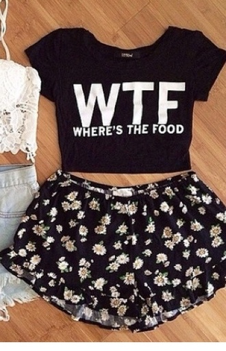 top shirt style floral shirt crop tops shorts black and white wtf black white cute summer denim black top quote on it food fashion blouse