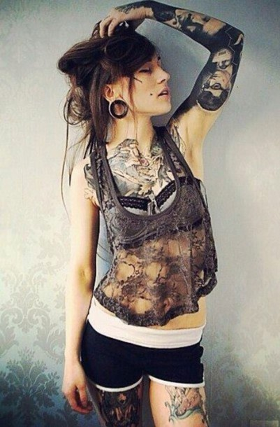 Tank top monami frost lace brown cute girl tattoo for Nude women tattoo