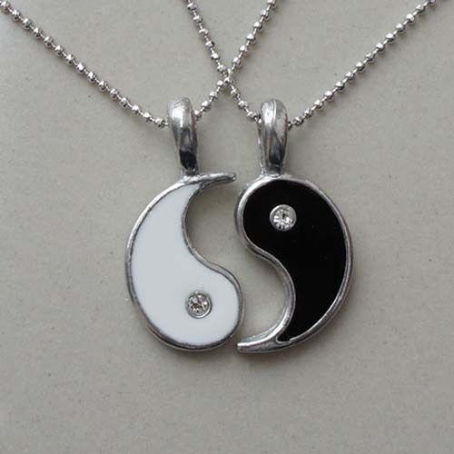Split yin yang love best friend silver pewter pendant witth ball