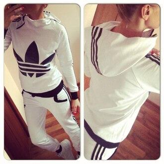 jumpsuit adidas white black and white 3 stripes hoodie jacket pants training pants sportswear zip tracksuit sweatpants streetwear