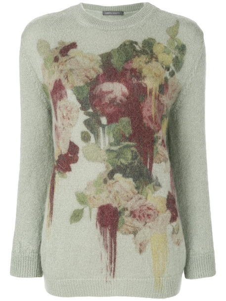 Alberta Ferretti - floral patterned sweater - women - Polyamide/Mohair/other fibers - 38, Green, Polyamide/Mohair/other fibers