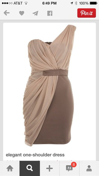 brown dress beige dress one shoulder one shoulder dresses