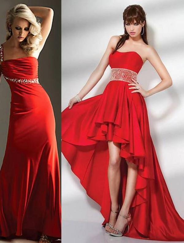 dress red dress wedding glitter red prom dress high low dress cheap long red dresses
