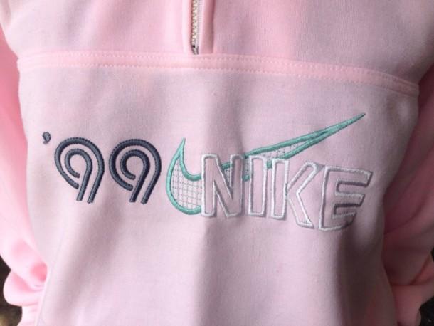 sweater pullover 99 nike pink pastel pink jacket nike jacket 1999 nike 1999 pink nike pink nike jacket light pink hoodie