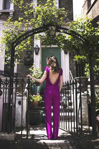 at fashion forte blogger jumpsuit jewels purple jumper open back wide-leg pants summer outfits