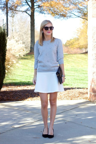 life with emily blogger grey sweater white skirt flats office outfits office outfits