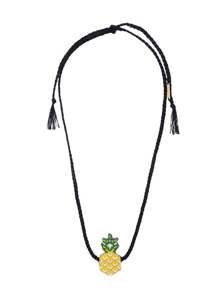 women pineapple beaded necklace leather black jewels